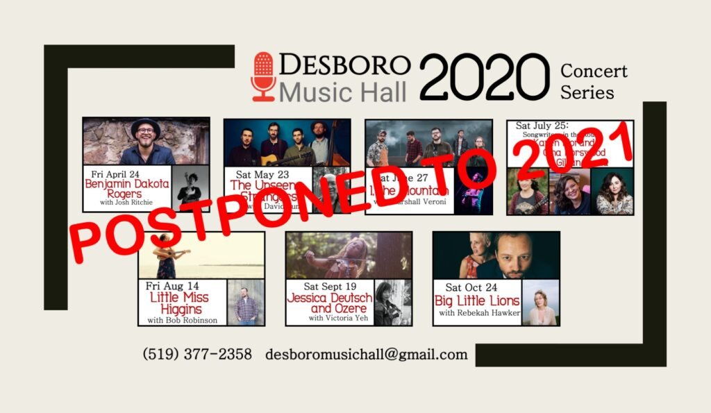 Desboro Music Hall 2020 Concert Series Postponed to 2021